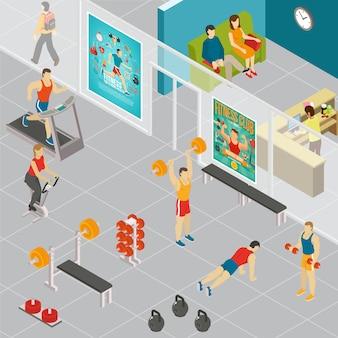 Ilustracja klub fitness izometryczny
