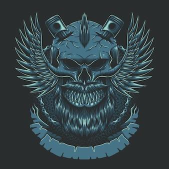 Ilustracja klubu motocykli skrzydła czaszki