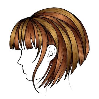 Ilustracja kobiece fryzury