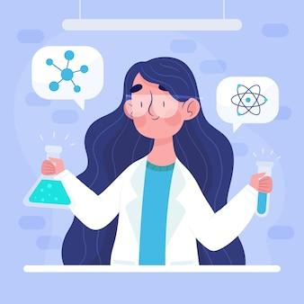 Ilustracja kobiece naukowiec