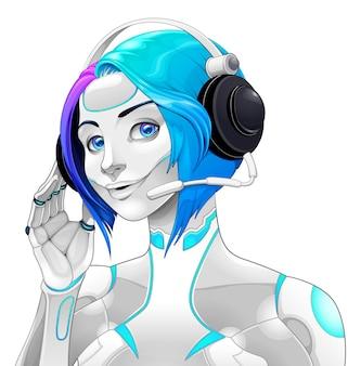 Ilustracja kobiecego androida z zestawem słuchawkowym
