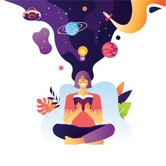 Ilustracja kobiecej zabawy czytaj książkę z eksplodującą wiedzą wszechświat galaktyka rakieta nauka planeta również ufo