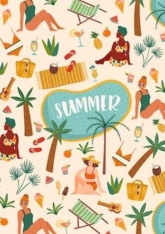 Ilustracja kobiet w stroju kąpielowym na tropikalnej plaży