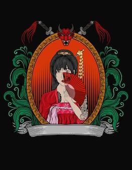 Ilustracja kobieta gejsza z ornamentem grawerowania