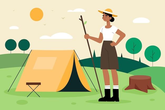 Ilustracja kobieta podróżująca w przyrodzie