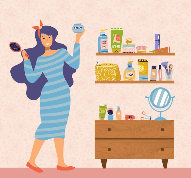 Ilustracja kobieta w sukni opiekującej się sobą stojąc przy stole z lustrem w pokoju. codzienna higiena osobista, procedura higieniczna. wiele przedmiotów do makijażu na półkach. ilustracja kreskówka płaski