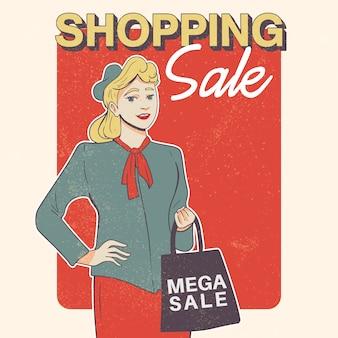 Ilustracja kobieta zakupy w stylu retro