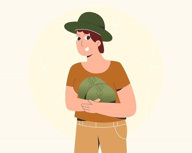 Ilustracja kobieta zbierająca warzywa w ogrodnictwie