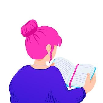 Ilustracja kobiety czytającej książkę motywacyjną, codzienne planowanie.