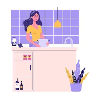 Ilustracja kobiety gotowania w kuchni. codzienna część rutyny dziewczyny. kobieta stojąca przy stole w kuchni.