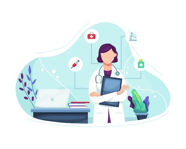 Ilustracja kobiety lekarka z stetoskopem