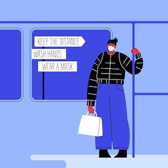 Ilustracja kobiety noszącej maskę w transporcie publicznym, trzymając się poręczy.