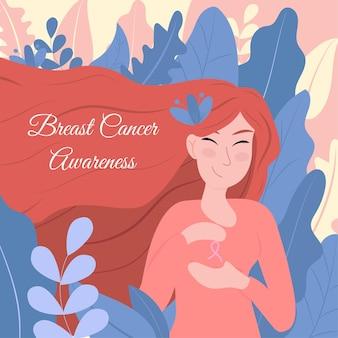 Ilustracja kobiety rude dla świadomości raka piersi