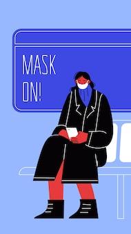 Ilustracja kobiety siedzącej w transporcie publicznym, zakrywając twarz.