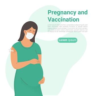 Ilustracja kobiety w ciąży szczepionek i szczepień