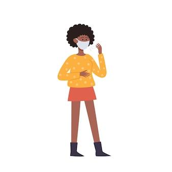 Ilustracja kobiety w ochronnej twarzy maska na białym tle.