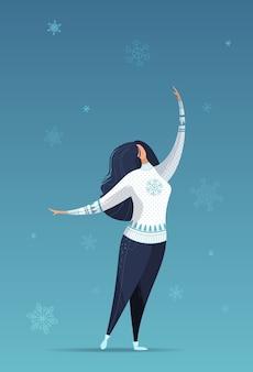 Ilustracja kobiety w spadających płatkach śniegu.