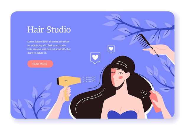 Ilustracja kobiety w studio włosów, koncepcja baneru internetowego. stylista włosów i klient w gabinecie kosmetycznym. koncepcja profesjonalnej pielęgnacji włosów