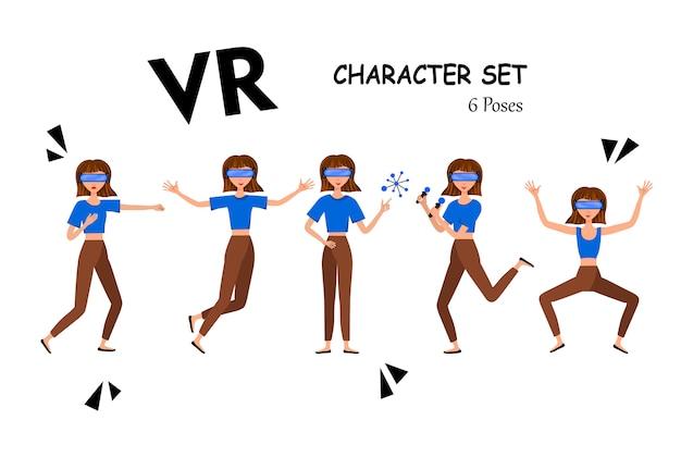 Ilustracja kobiety w zestawie słuchawkowym wirtualnej rzeczywistości z kontrolerem ruchu. kask vr. kreskówka realistyczni ludzie zestaw. płaski młody człowiek.
