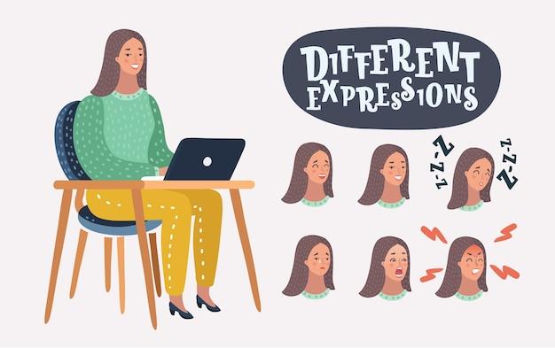 Ilustracja kobiety z zestawem różnych wyrazów twarzy. znane postacie przy laptopie na stole. +