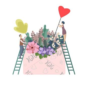 Ilustracja kochanków zbiera kwiaty w dużej kopercie dla walentynka dnia jako prezent