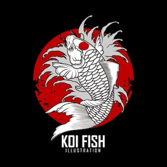 Ilustracja koi fish tattoo