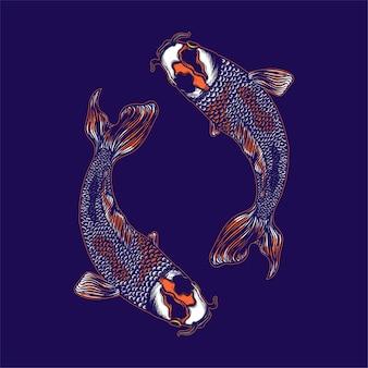 Ilustracja koi ryb yin i yang