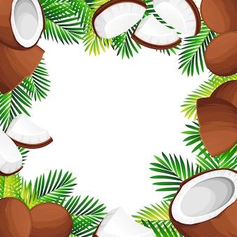 Ilustracja kokosowa. kokosy w całości i kawałkach z zielonymi liśćmi palmowymi. organiczny składnik żywności, naturalny produkt tropikalny. ilustracja na białym tle