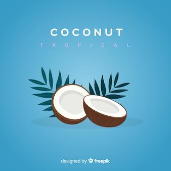Ilustracja kokosowa płaska