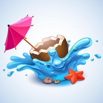 Ilustracja kokosowego koktajlu i parasola