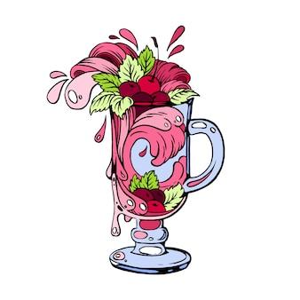Ilustracja koktajl ręcznie rysowane wiśni.