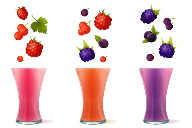 Ilustracja koktajl zdrowe napoje jagodowe