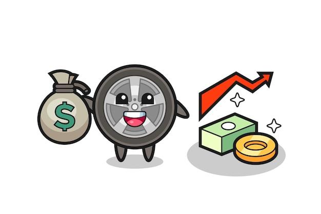 Ilustracja koła samochodu kreskówka trzymając worek pieniędzy, ładny styl na koszulkę, naklejkę, element logo
