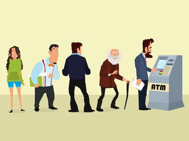 Ilustracja kolejki ludzi do bankomatu.