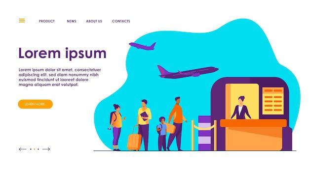 Ilustracja kolejki na lotnisku. linia turystów stojących przy recepcji.