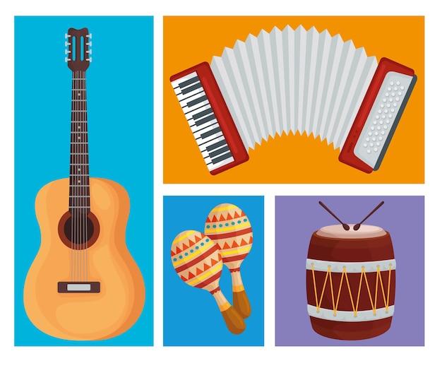 Ilustracja kolekcja instrumentów muzycznych
