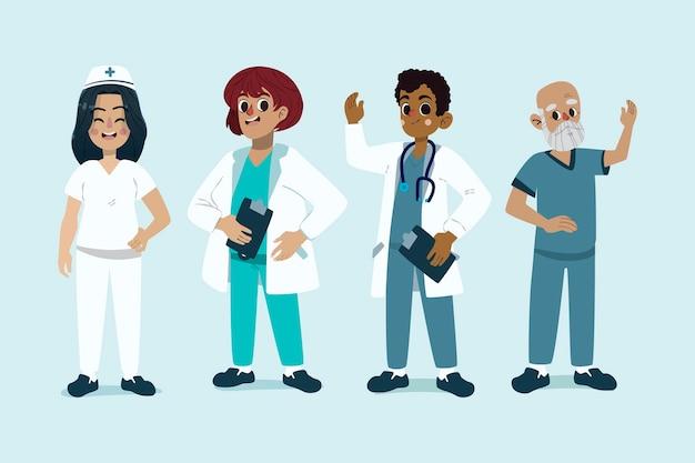 Ilustracja kolekcja lekarzy i pielęgniarek kreskówka
