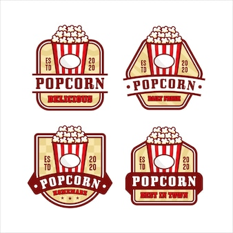Ilustracja kolekcja logo popcorn design na białym tle