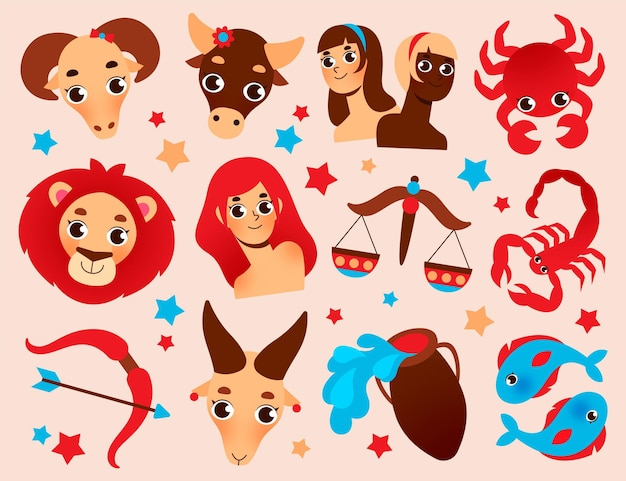 Ilustracja Kolekcja Znak Zodiaku Kreskówka Darmowych Wektorów