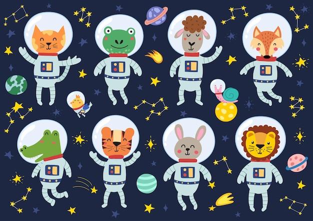 Ilustracja kolekcja zwierząt kosmicznych
