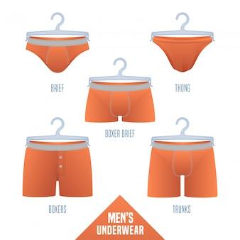 Ilustracja kolekcji bielizny męskiej. zestaw, elementy projektu różnych modeli męskiej bielizny - bokserki, slipy, bokserki, bikini, kufry, stringi do sprzedaży detalicznej, sklep, plakat, ulotka