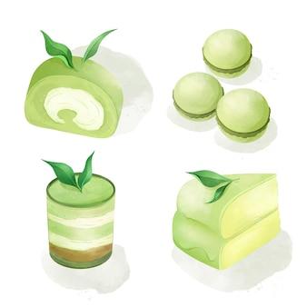 Ilustracja kolekcji deserów matcha