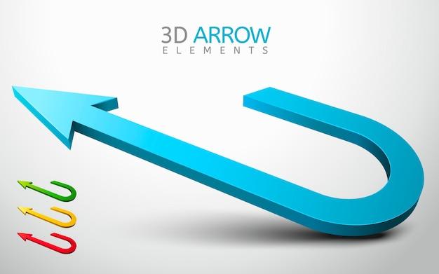 Ilustracja kolekcji elementu strzałki 3d