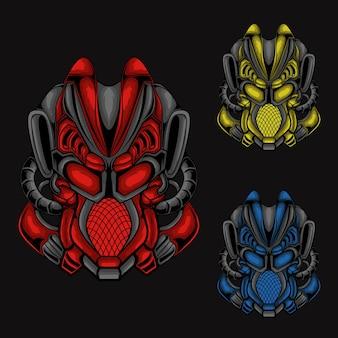 Ilustracja Kolekcji Głowy Robota Zabójcy Premium Wektorów