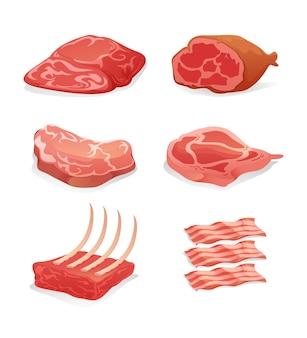 Ilustracja kolekcji kolorowego mięsa na białym tle