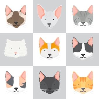 Ilustracja kolekcji kotów