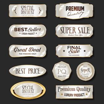 Ilustracja kolekcji luksusowych złotych i brązowych odznak i etykiet