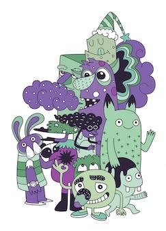 Ilustracja kolekcji potwory i słodkie przyjazne kosmitom, fajne, słodkie ręcznie rysowane potwory