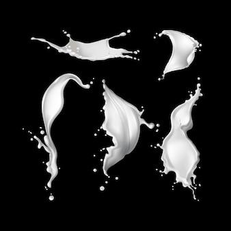 Ilustracja kolekcji realistyczne białe plamy mleka