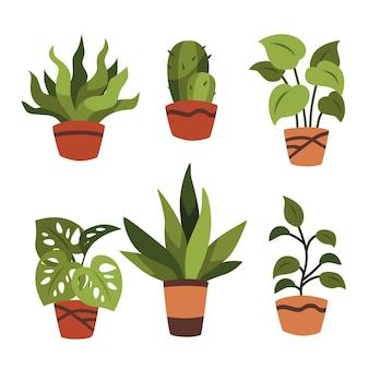 Ilustracja kolekcji roślin doniczkowych